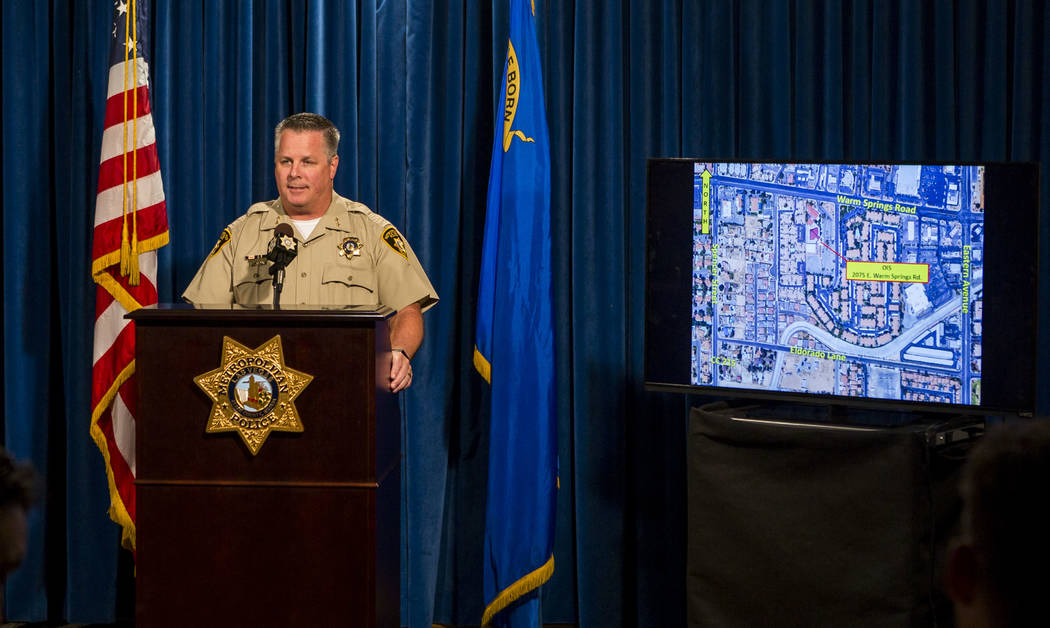 Assistant Sheriff Todd Fasulo discusses the location of a recent officer-involved shooting, in which an armed, naked man was shot, on Tuesday, Aug. 8, 2017.  Patrick Connolly Las Vegas Review-Jour ...