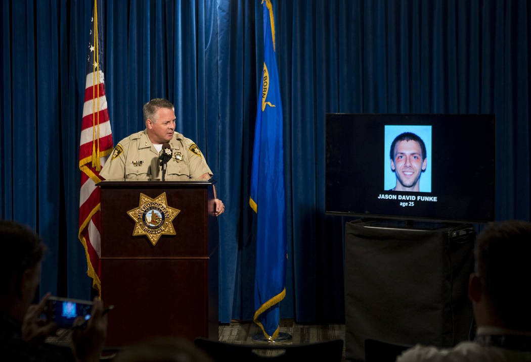 Assistant Sheriff Todd Fasulo talks about the suspect in a recent officer-involved shooting, in which an armed, naked man was shot, on Tuesday, Aug. 8, 2017.  Patrick Connolly Las Vegas Review-Jou ...