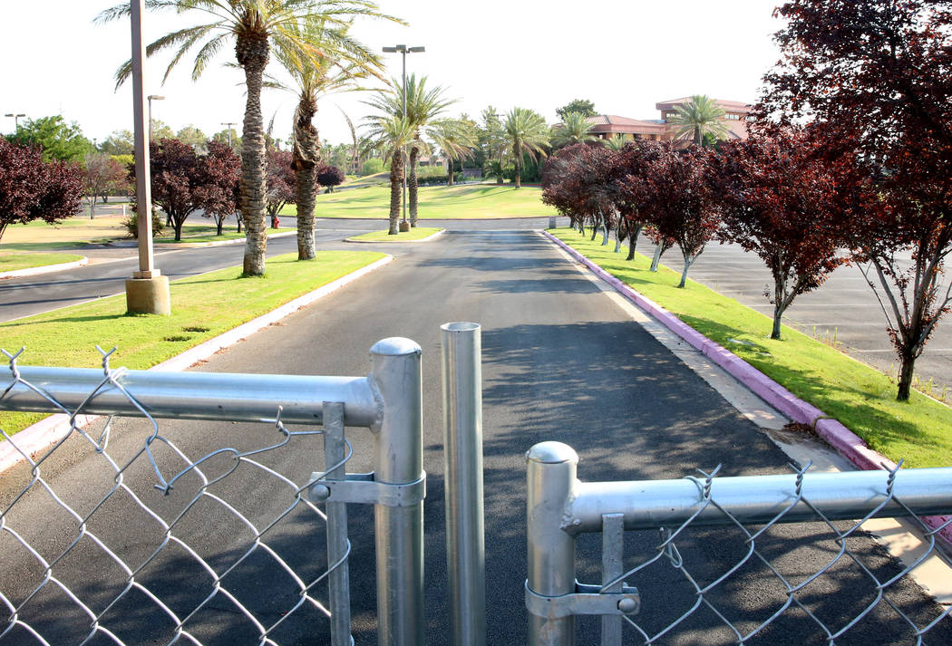 The entrance to the Legacy Golf Club in Henderson secured with wire fence on Tuesday, July 11, 2017, after it was reportedly sold for $5.6 million to an unknown buyer and closed indefinitely. Bizu ...