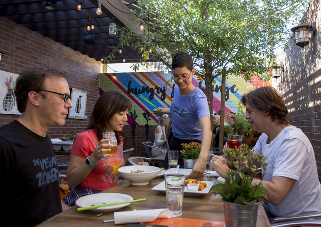 Food is served on the patio of VegeNation,Thursday, Nov. 10, 2016, in Las Vegas. Elizabeth Page Brumley/Las Vegas Review-Journal Follow @ELIPAGEPHOTO