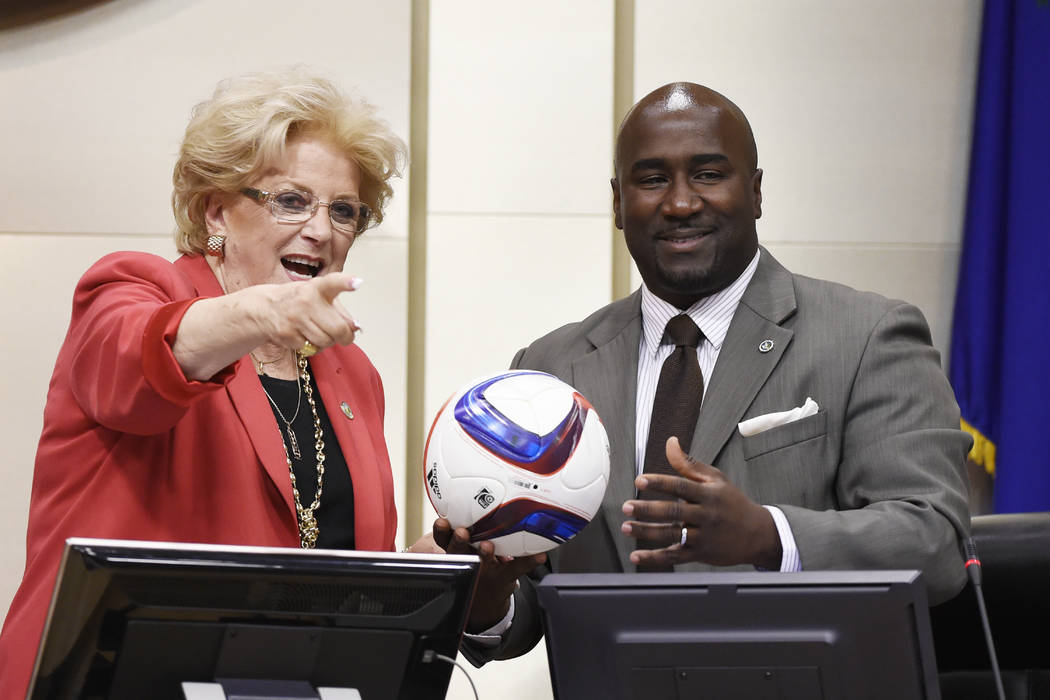 Las Vegas Mayor Carolyn Goodman and Councilman Ricki Barlow joke with a soccer ball during a meeting of the Las Vegas City Council Wednesday, July 19, 2017. Sam Morris/Las Vegas News Bureau