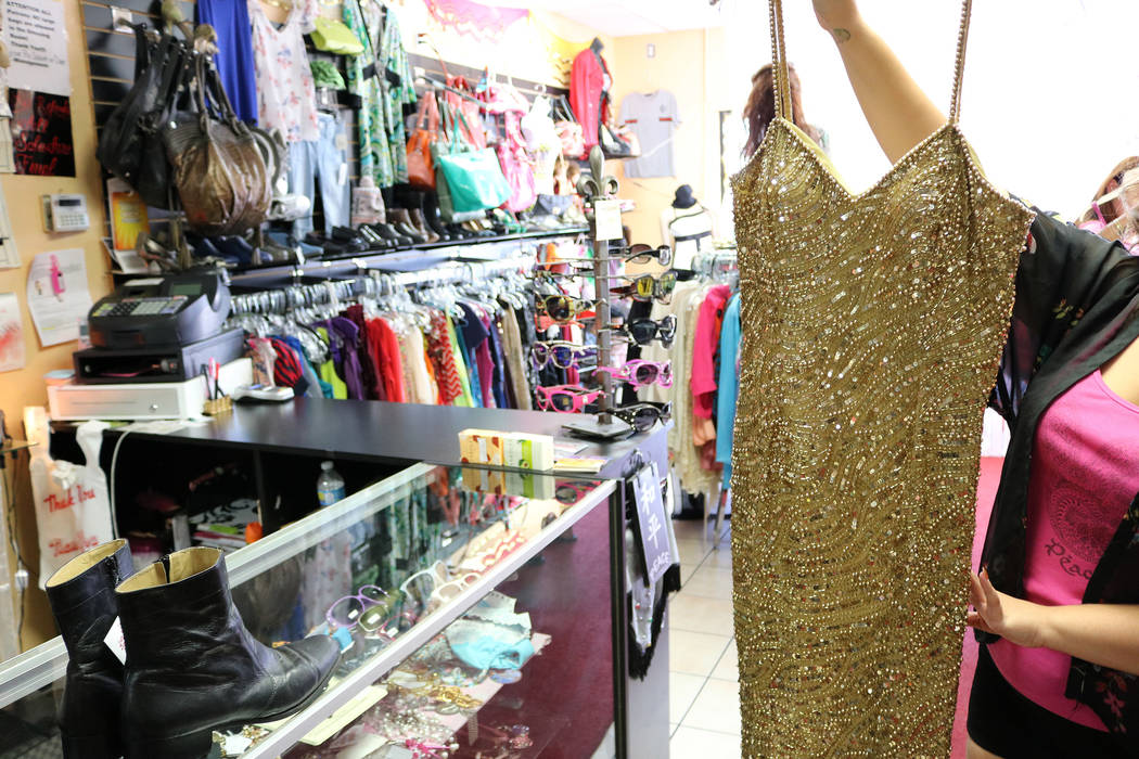 Sales associate Ava Albanese's favorite garment in Cleopatra's Treasures is this sequined and beaded dress. Janna Karel Las Vegas Review-Journal