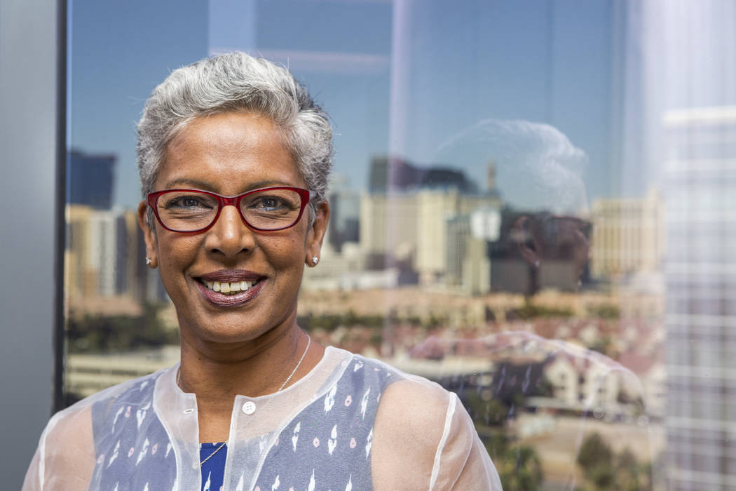 Philanthropist Punam Mathur in the office of the Elaine P. Wynn & Family Foundation overlooking the Strip in Las Vegas on Aug. 10, 2017.  Patrick Connolly Las Vegas Review-Journal @PConnPie
