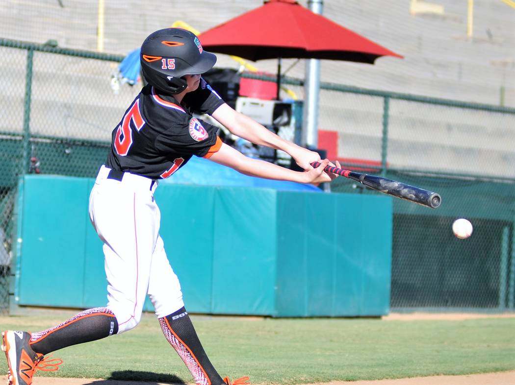 Summerlin Southճ George Holt puts the ball in play in the fourth inning of his teamճ 8-5 loss against Utah Little Leagueճ West Regional Tournament in San Bernardino, Calif., Tues ...