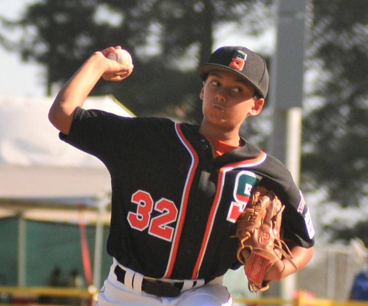 Summerlin South pitcher Sammy Fredrich delivers a pitch during his teamճ 8-5 loss against Utah Little Leagueճ West Regional Tournament in San Bernardino, Calif., Tuesday, Aug. 8, 2017. ...