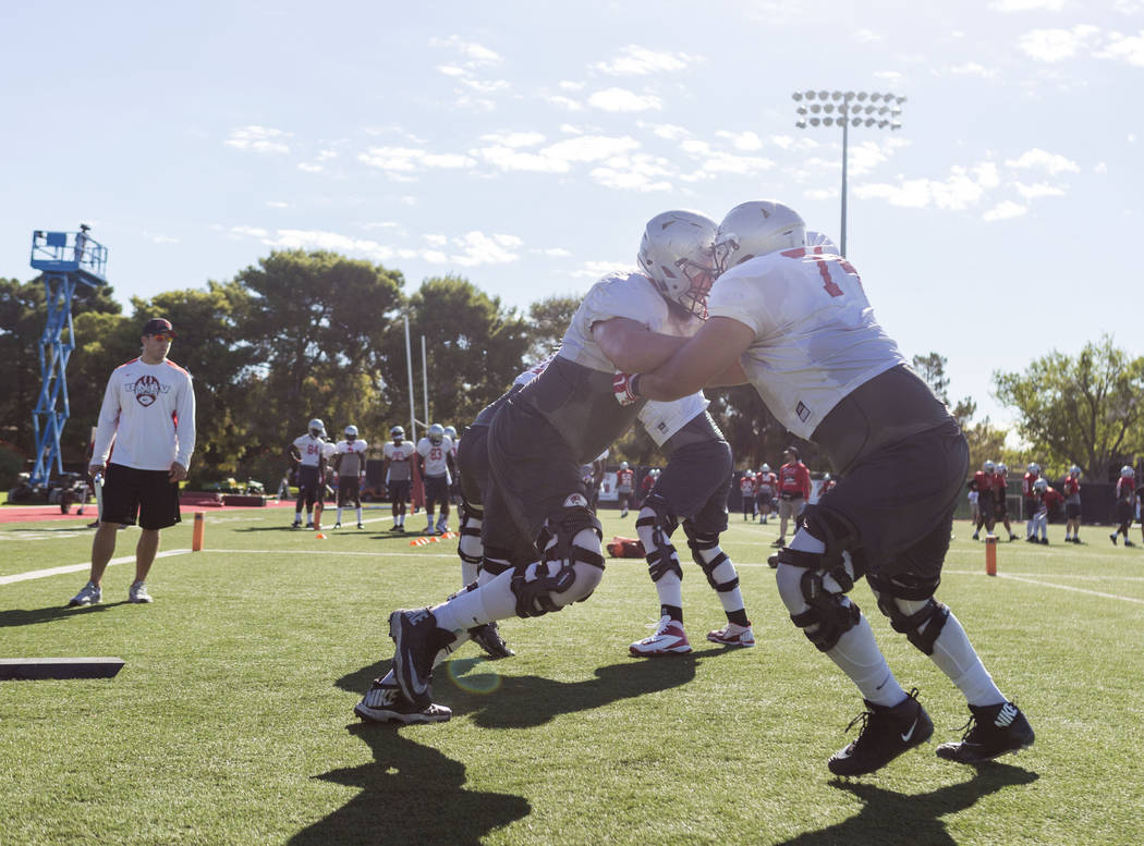 UNLV offensive left tackle Kyle Saxelid (76) participates in drills during football practice at UNLV's Rebel Park in Las Vegas, Tuesday, Aug. 22, 2017. Elizabeth Brumley Las Vegas Review-Journal