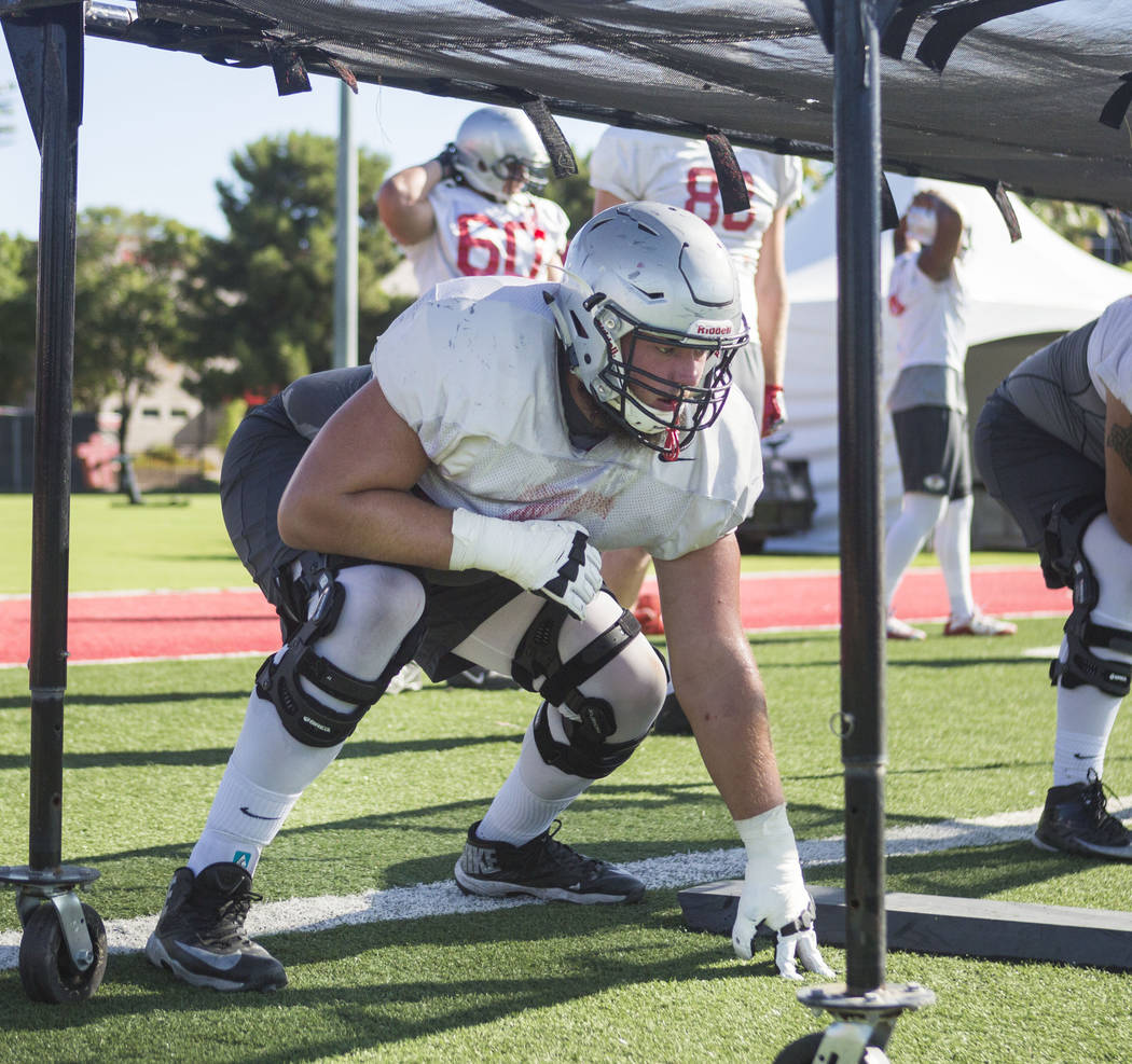 UNLV offensive left tackle Kyle Saxelid participates in drills during football practice at UNLV's Rebel Park in Las Vegas, Tuesday, Aug. 22, 2017. Elizabeth Brumley Las Vegas Review-Journal
