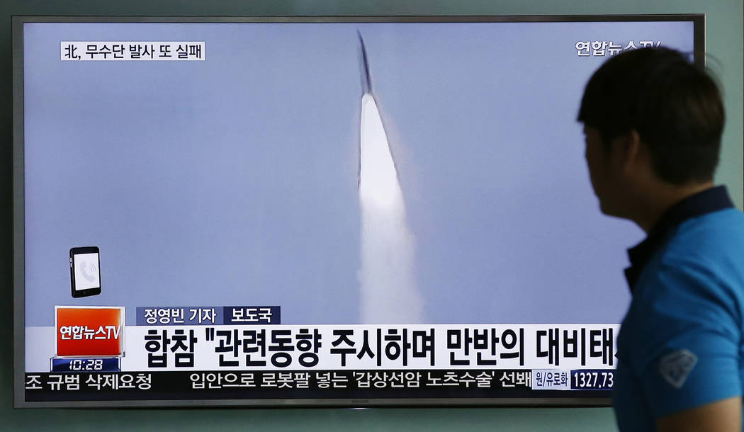 In this May 31, 2016, file photo, a man watches a TV news program reporting about a powerful new Musudan mid-range missile launch of North Korea, at the Seoul Train Station in Seoul, South Korea.  ...