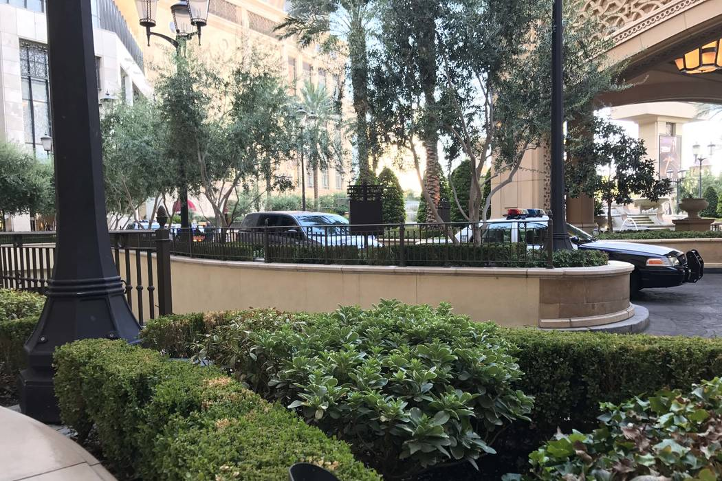 Metro police are investigating the stabbing of a security guard at the Palazzo on the Las Vegas Strip, Wednesday morning, Aug. 9, 2017. (Elaine Wilson/Las Vegas Review-Journal)