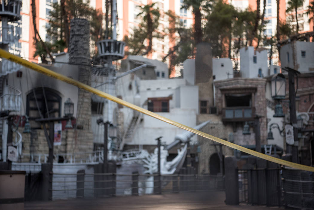 Metro police are investigating the stabbing of a security guard at the Palazzo on the Las Vegas Strip, Wednesday morning, Aug. 9, 2017. The suspect was caught near TI. (Morgan Lieberman/Las Vegas  ...