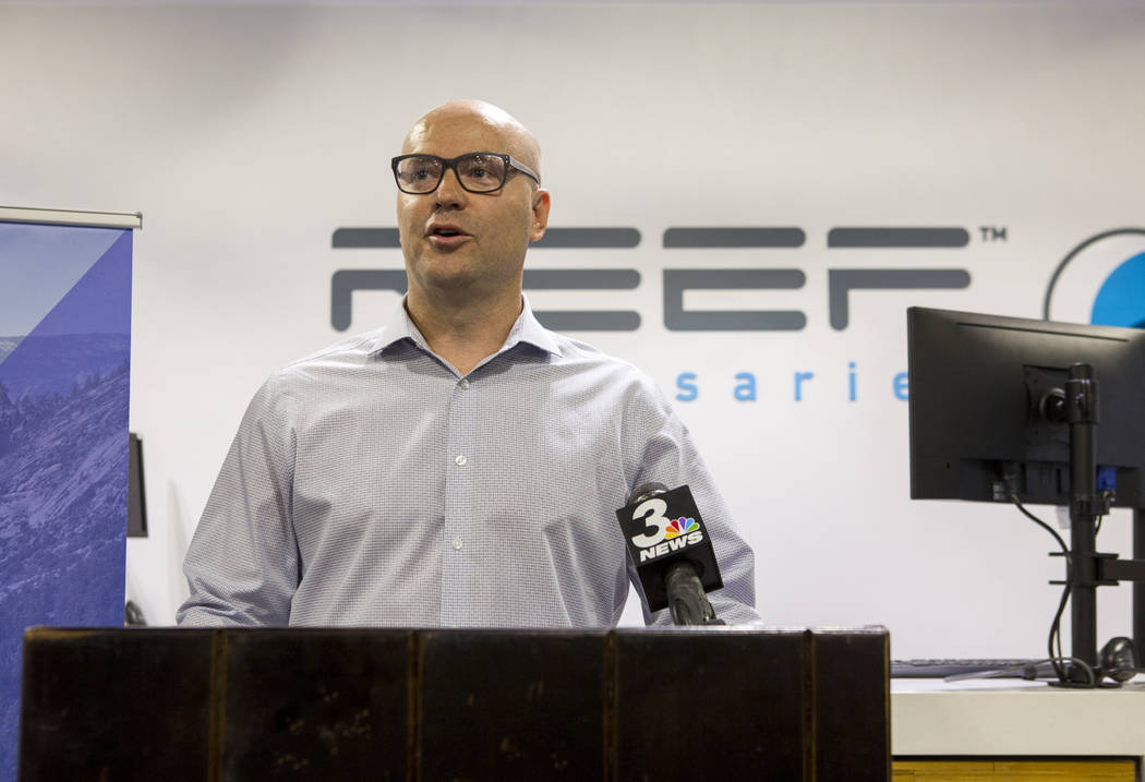 Andrew Jolley, president of the Nevada Dispensary Association, during a press conference at Reef Dispensaries near the Las Vegas Strip on Thursday, June 29, 2017. (Patrick Connolly/Las Vegas Revie ...
