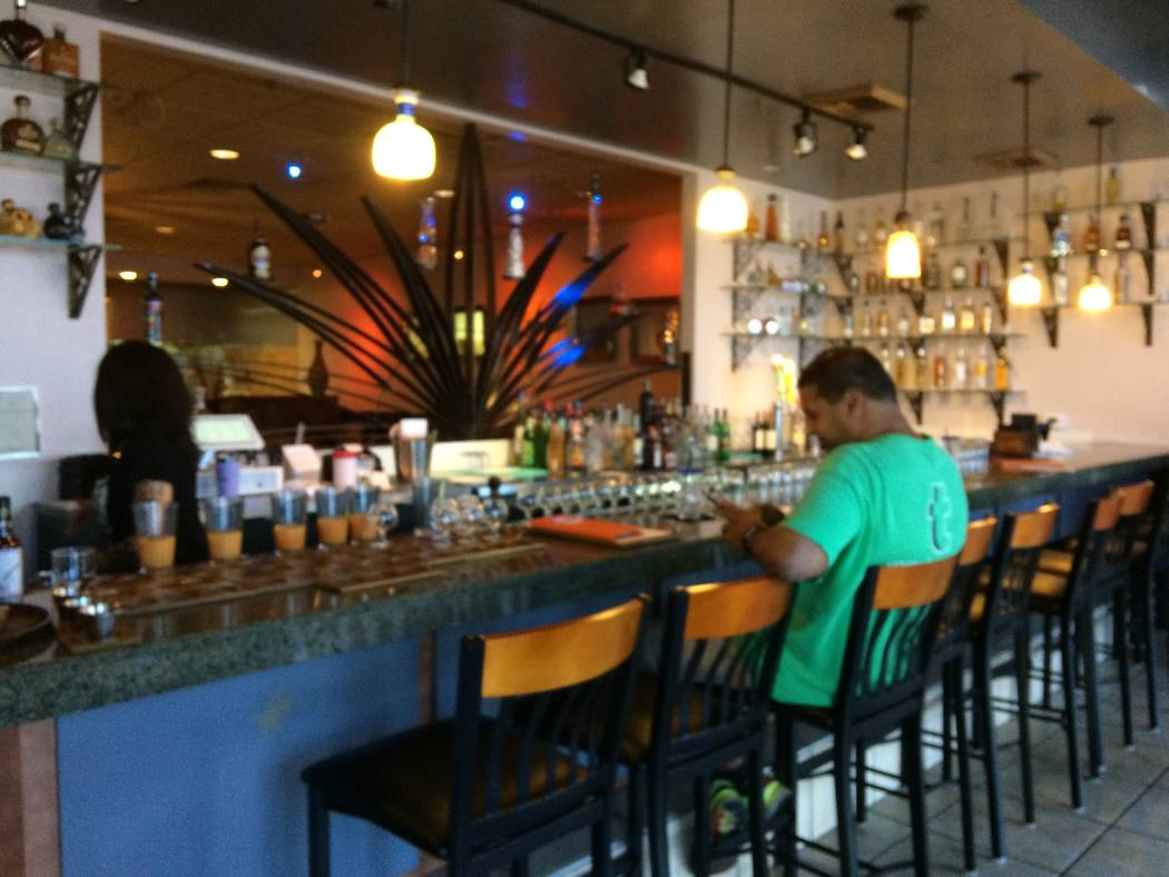 The interior of Salud Mexican Bistro and Tequileria, 8125 W. Sahara Ave., is seen Aug. 2, 2017. Expect more than mere burritos and tacos. The chef mixes things up with dishes worthy of an upscale  ...