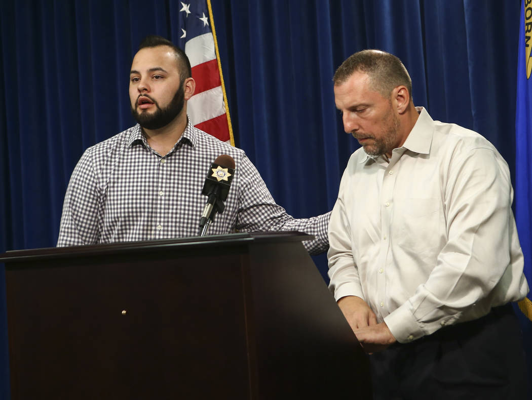 Freddy Lopez, left, a family friend of Makayla Rhiner, who was killed Thursday, and Paul Meadows, Rhiner's godfather, give a statement at Metropolitan Police Department headquarters in Las Vegas o ...