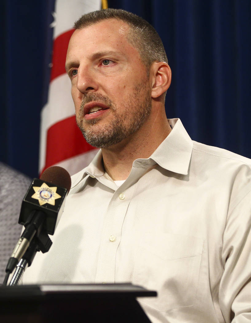 Paul Meadows, godfather of Makayla Rhiner, who was killed Thursday, gives a statement at Metropolitan Police Department headquarters in Las Vegas on Wednesday, Aug. 9, 2017. Chase Stevens Las Vega ...