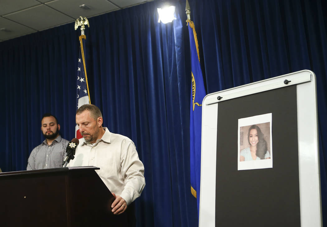Paul Meadows, godfather of Makayla Rhiner, who was killed Thursday, gives a statement at Metropolitan Police Department headquarters in Las Vegas on Wednesday, Aug. 9, 2017. Freddy Lopez, a friend ...