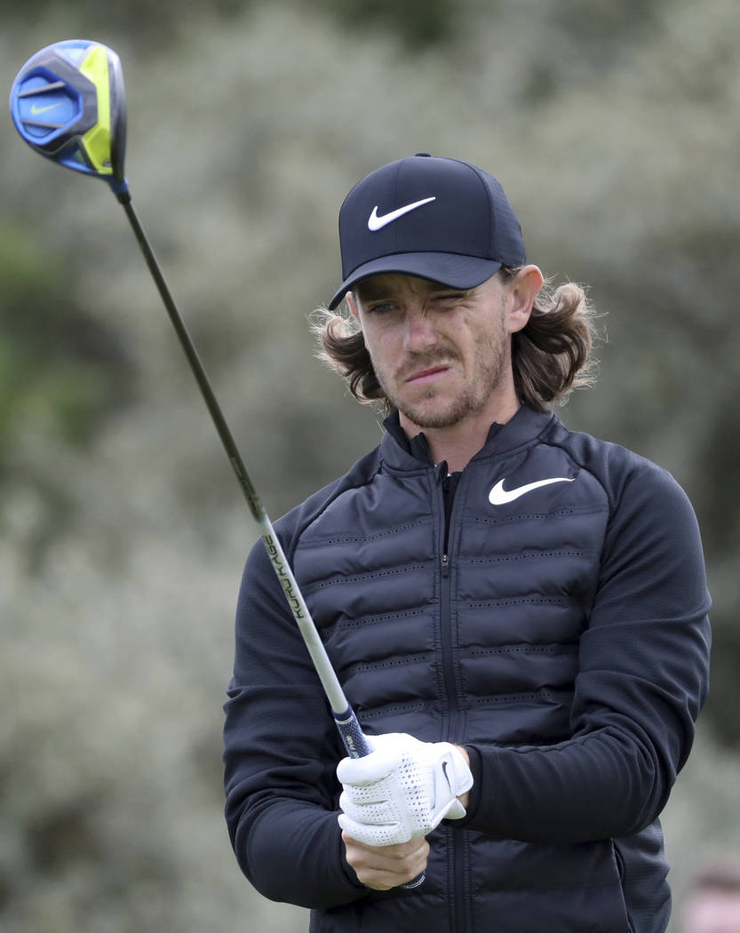 Britain's Tommy Fleetwood prepares to play off the 2nd tee during the first round of the British Open Golf Championship, at Royal Birkdale, Southport, England Thursday, July 20, 2017. (AP Photo/Pe ...