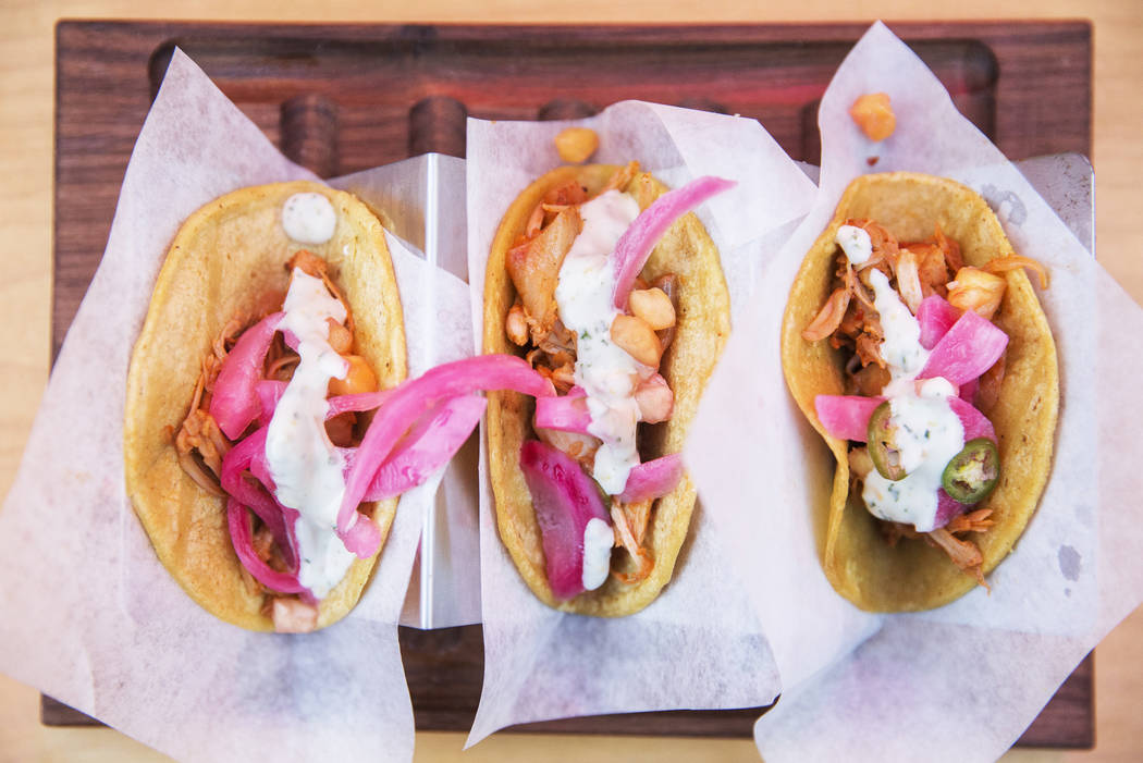 The reuben tacos by chef John Simmons at Tacos & Beer at the Hopped Taco Throwdown on Saturday, Aug 12, 2017, at Zappos, in Las Vegas. (Benjamin Hager/Las Vegas Review-Journal) @benjaminhphoto