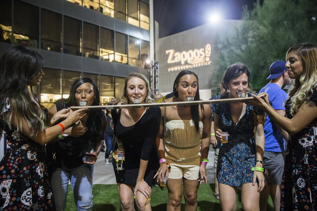 Flights of Tijuana Sweet Heat tequila are served to guests at the Hopped Taco Throwdown on Saturday, Aug 12, 2017, at Zappos, in Las Vegas. (Benjamin Hager/Las Vegas Review-Journal) @benjaminhphoto