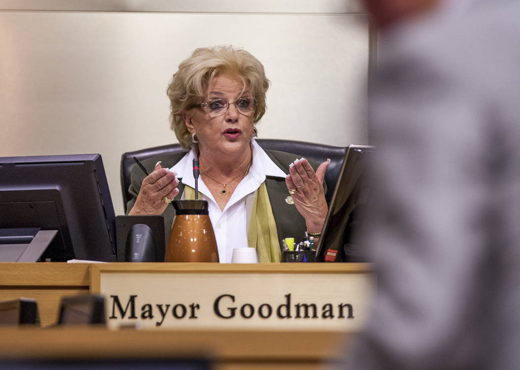 Mayor Carolyn Goodman responds to attorney Frank Schreck during public comment about the Badlands golf course development at a City Council meeting at Las Vegas City Hall on Wednesday, August 2, 2 ...