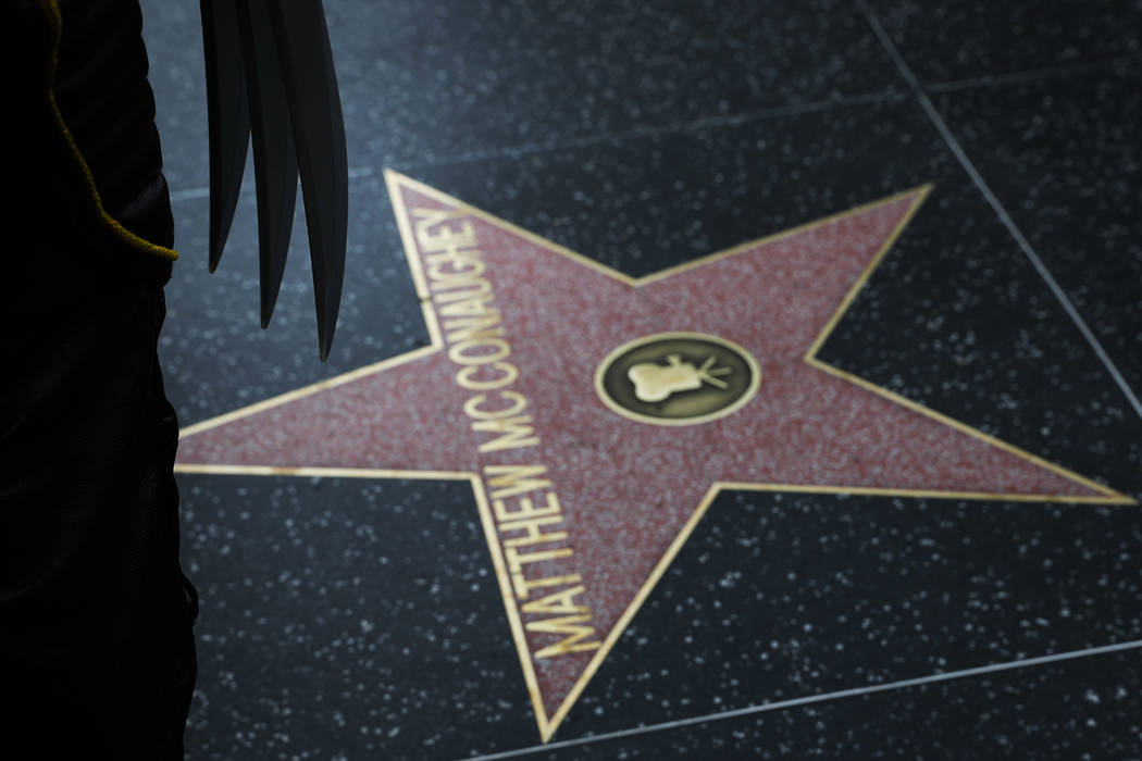 Ross Johnson, also known as the Hollywood Wolverine, wears a Marvel Wolverine costume near Matthew McConaughey's star on the Hollywood Walk of Fame, in Los Angeles on Friday, May 26, 2017. Johnson ...