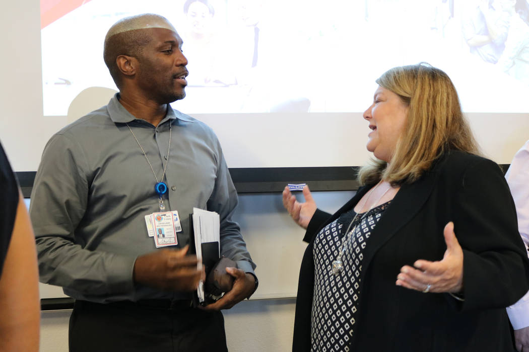 Debbie Banko, CEO of Las Vegas-based Link Technologies, discusses the challenges of designing a cybersecurity curriculum that employers see fit with Lester Lewis, deputy chief information officer  ...