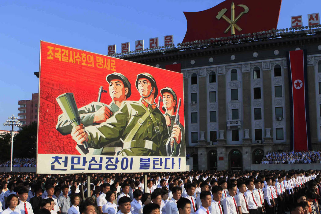 Tens of thousands of North Koreans gathered for a rally at Kim Il Sung Square carrying placards and propaganda slogans as a show of support for their rejection of the United Nations' latest round  ...