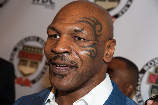 Former Heavyweight Boxing Champion Mike Tyson is seen on the red carpet at the Tropicana hotel-casino in Las Vegas Saturday, Aug. 9, 2014.  (Martin S. Fuentes/Las Vegas Review-Journal)