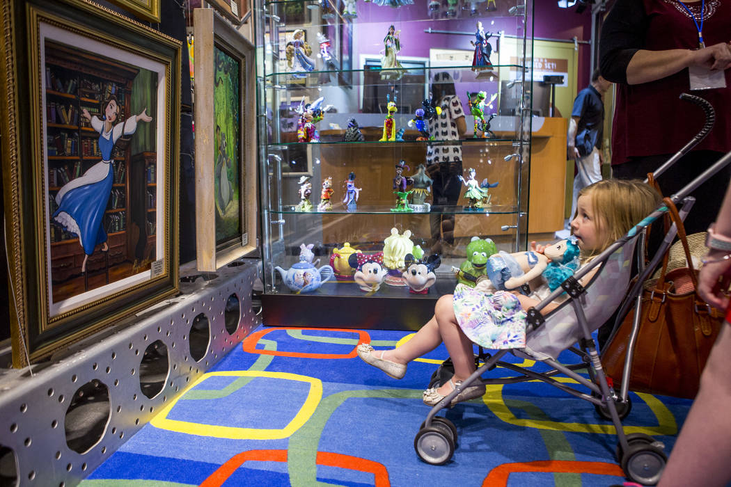 Georgia Deakin, 3, of Nottingham, England, during the grand opening of the Magical Memories Disney Fine Art Gallery in the Forum Shops at Caesars on Thursday, Aug. 10, 2017.  Patrick Connolly Las  ...