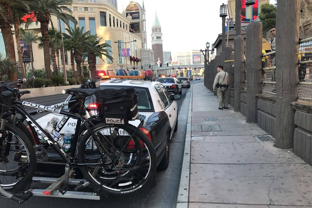 Police are investigating the stabbing of a security guard at the Palazzo on the Las Vegas Strip, Wednesday morning, Aug. 9, 2017. The suspect was caught near TI. (Elaine Wilson/Las Vegas Review-Jo ...