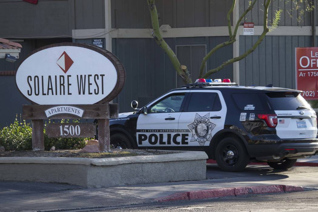 Las Vegas police are investigating after a woman was slashed in the throat on Thursday, Aug. 10, 2017, at the Solaire West apartment complex at 1500 E. Karen Ave. in Las Vegas. (Richard Brian/Las  ...