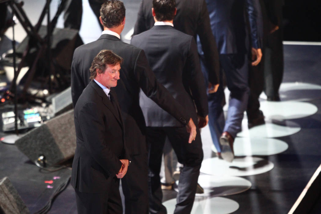 Former NHL star Wayne Gretzky takes the stage during the 2017 NHL Awards and Expansion Draft at T-Mobile Arena on Wednesday, June 21, 2017 in Las Vegas. Chase Stevens Las Vegas Review-Journal