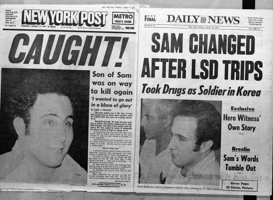 The front page headlines of the New York Post and the Daily News on August 11, 1977, the day after police arrested David Berkowitz, the Son of Sam killer, in New York. Thursday, Aug. 10, 2017 is t ...