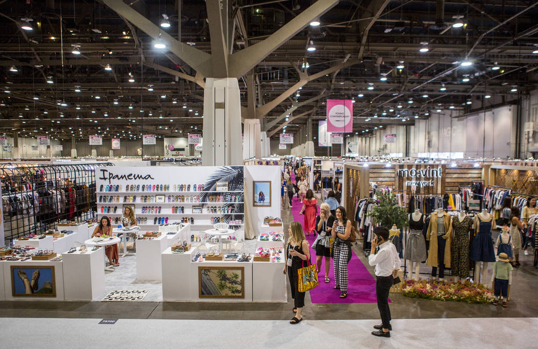Attendees browse clothing at the MAGIC trade show inside the Las Vegas Convention Center on Monday, Aug. 14, 2017.  Patrick Connolly Las Vegas Review-Journal @PConnPie
