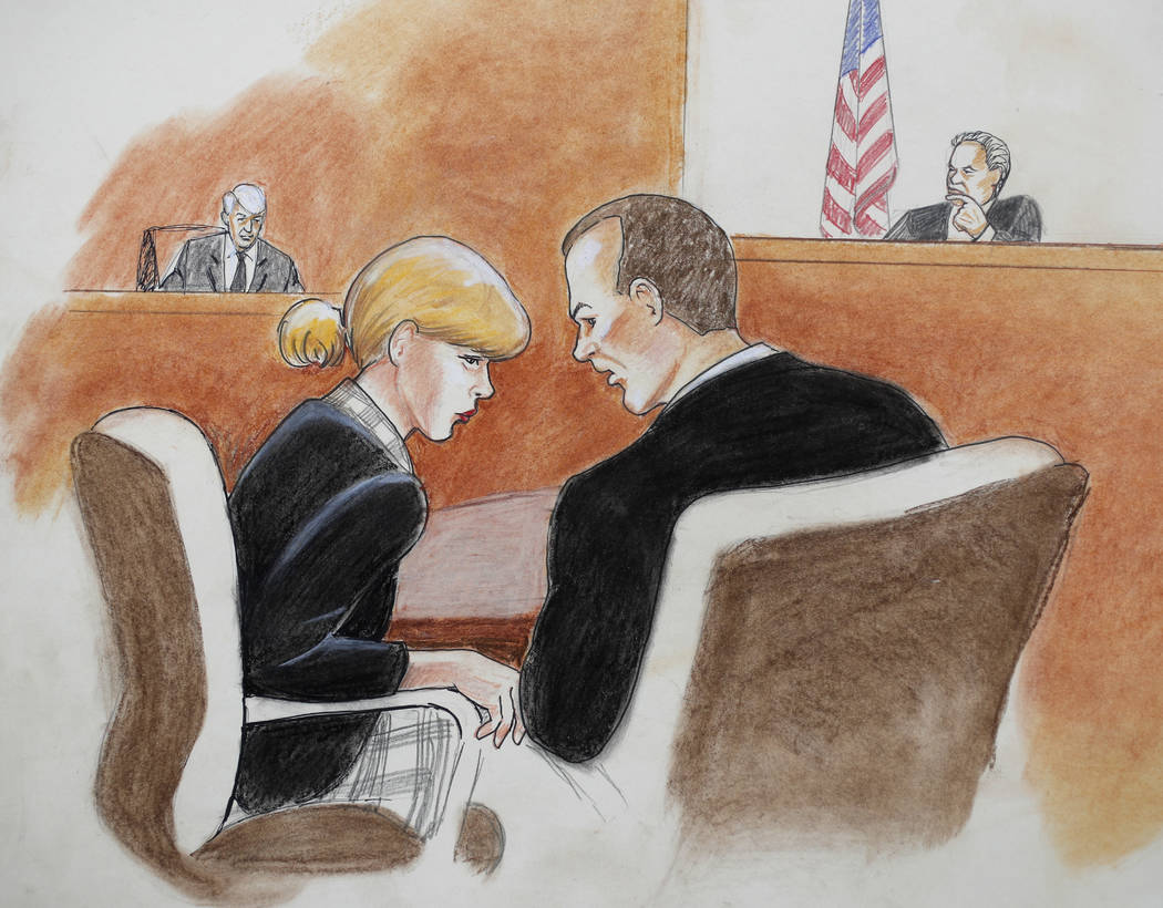 In this courtroom sketch, pop singer Taylor Swift, front left, confers with her attorney as David Mueller, back left, and the judge look on during a civil trial in federal court Tuesday, Aug. 8, 2 ...