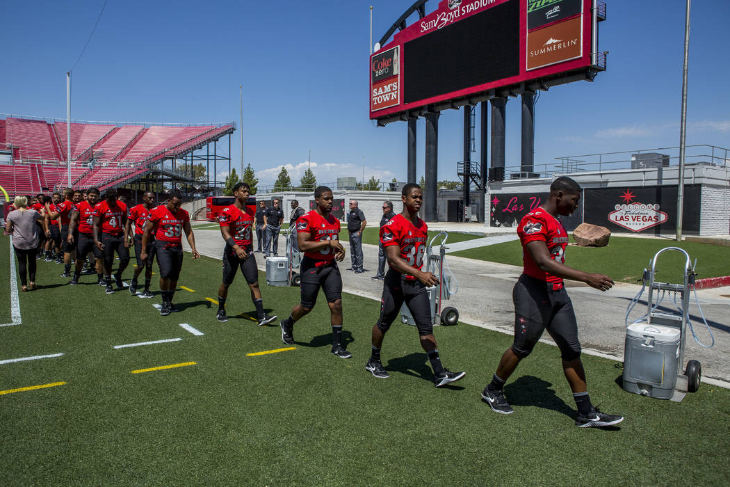 UNLV football players during photo day at Sam Boyd Stadium on Monday, Aug. 7, 2017.  Patrick Connolly Las Vegas Review-Journal @PConnPie