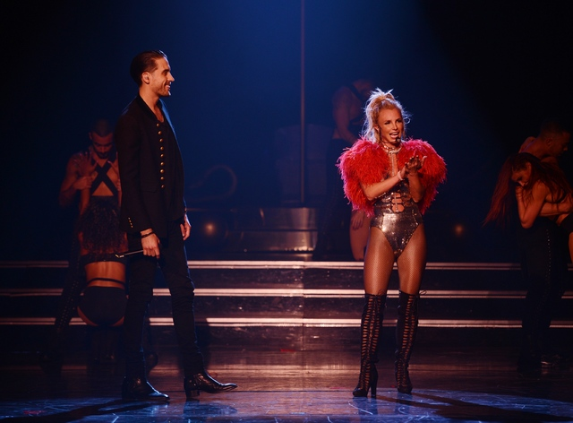 Britney Spears and G-Eazy at Axis at Planet Hollywood on Friday, Oct. 21, 2016, in Las Vegas. (Denise Truscello/WireImage)
