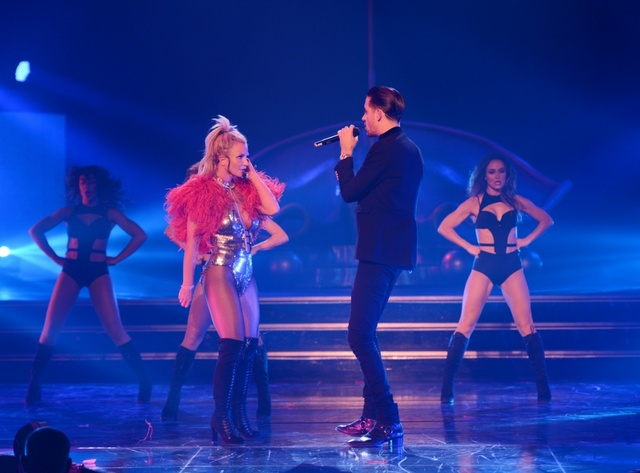 Britney Spears and G-Eazy perform Friday Oct. 21 at Planet Hollywood. (Denise Truscello/WireImage)