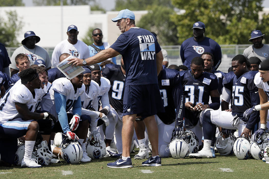 Tennessee Titans head coach Mike Mularkey talks with his players during NFL football training camp Wednesday, Aug. 9, 2017, in Nashville, Tenn. (AP Photo/Mark Humphrey)