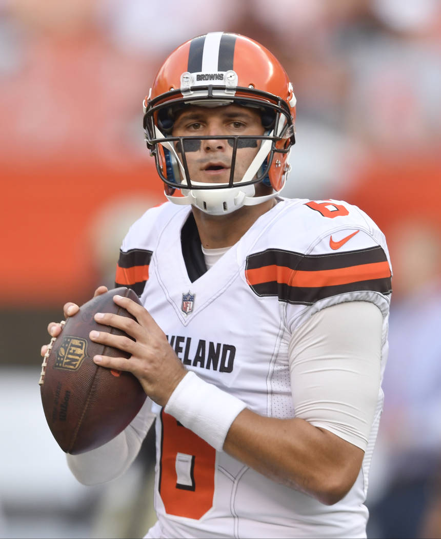 Cleveland Browns quarterback Cody Kessler warms up prior to an NFL preseason football game against the New Orleans Saints, Thursday, Aug. 10, 2017, in Cleveland. The Browns won 20-14. (AP Photo/Da ...