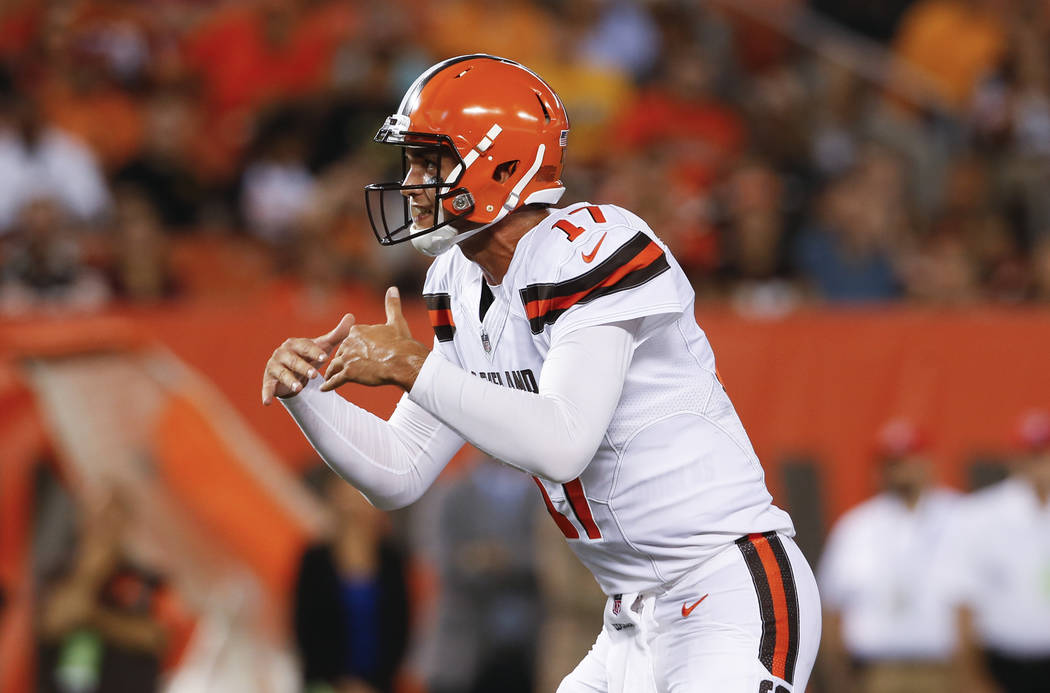 Cleveland Browns quarterback Brock Osweiler calls a play against the New Orleans Saints during the first half of an NFL preseason football game, Thursday, Aug. 10, 2017, in Cleveland. (AP Photo/Ro ...