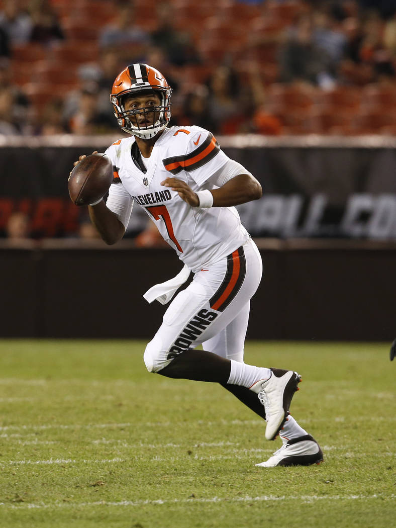 Cleveland Browns quarterback DeShone Kizer (7) rolls out against the New Orleans Saints during the second half of an NFL preseason football game, Thursday, Aug. 10, 2017, in Cleveland. (AP Photo/R ...