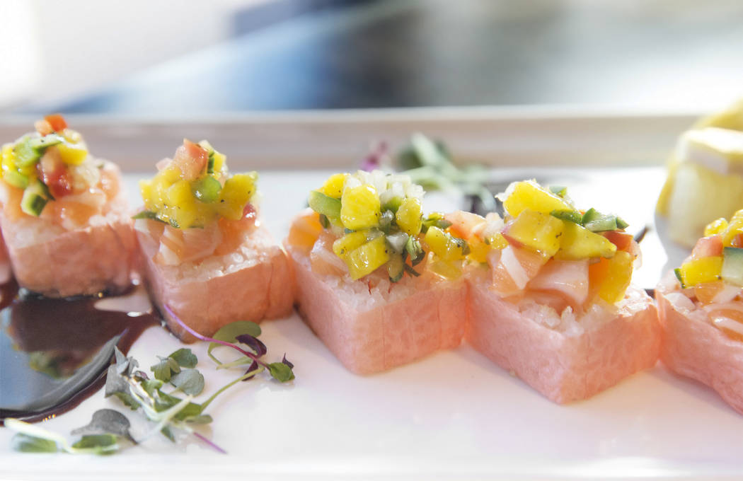The pink lady, with shrimp, avocado, crunch, salmon and mango salsa at Umami on Saturday, Aug 12, 2017, in Las Vegas. Benjamin Hager Las Vegas Review-Journal @benjaminhphoto
