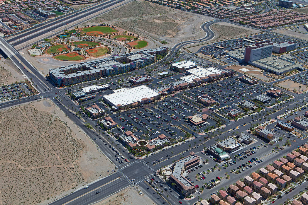 Jones Lang LaSalle Income Property Trust has purchased Las Vegas retail plaza Montecito Marketplace, seen in this undated aerial photo. (JLL Income Property Trust)