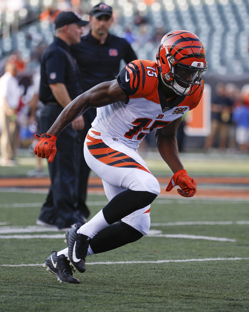 Cincinnati Bengals wide receiver John Ross practices before an NFL football game against the Tampa Bay Buccaneers, Friday, Aug. 11, 2017, in Cincinnati. (AP Photo/Frank Victores)