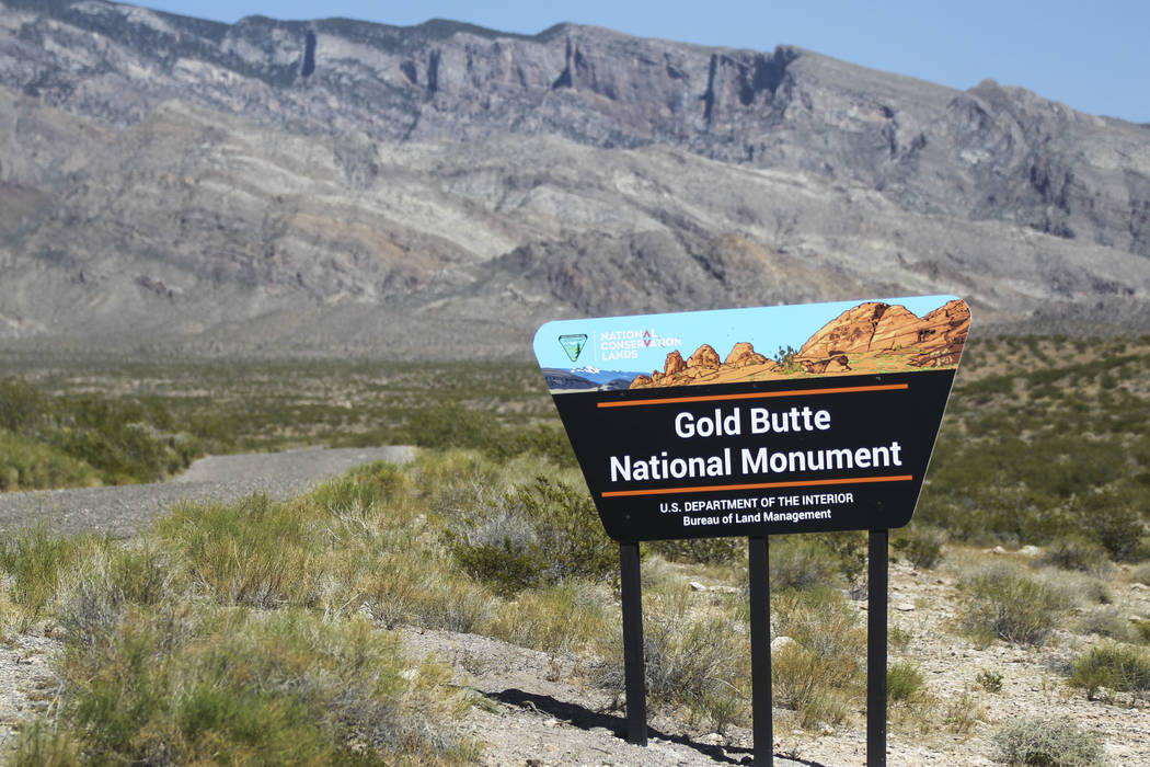 A sign marks the Gold Butte National Monument south of Bunkerville on Friday, June 2, 2017. Chase Stevens Las Vegas Review-Journal @csstevensphoto