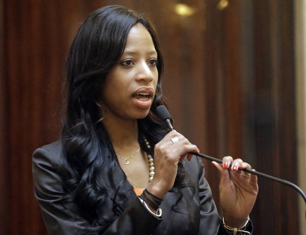 Rep. Mia Love, R-Utah, speaks to the Utah Senate, at the Utah State Capitol, in Salt Lake City on Feb. 23, 2017. (AP Photo/Rick Bowmer, File)