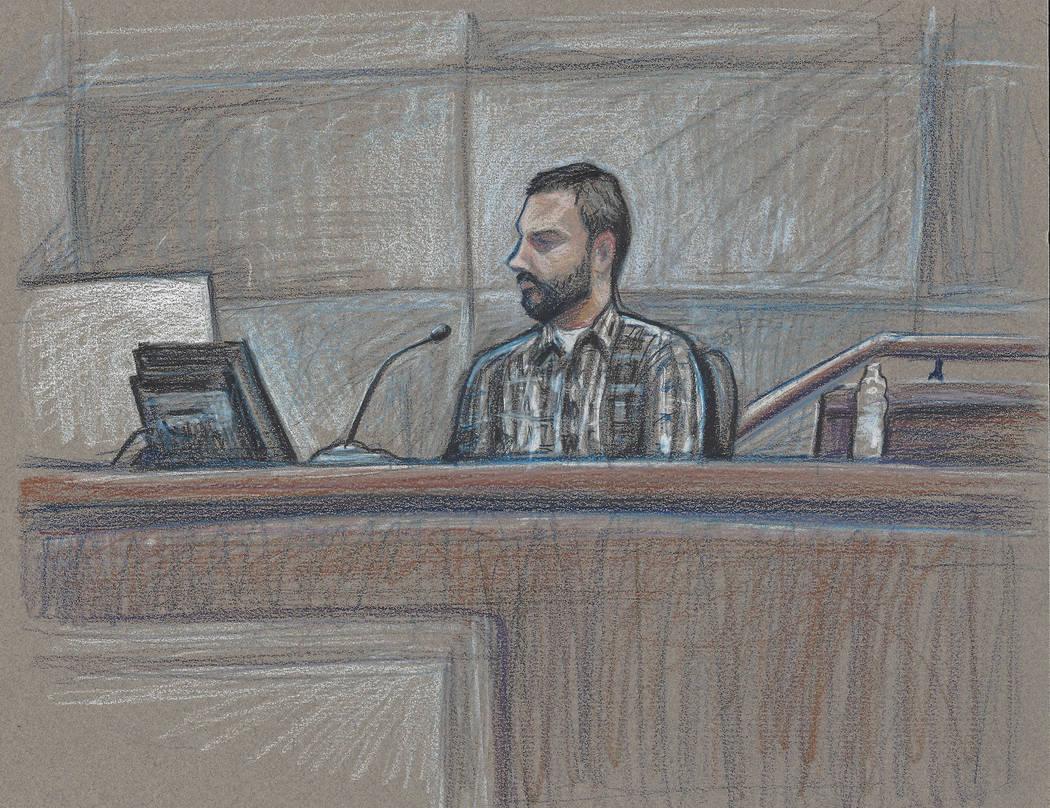 Bunkerville protester Eric Parker, left, testified in his own defense Thursday, April 6, 2017 in Las Vegas. (David Stroud)
