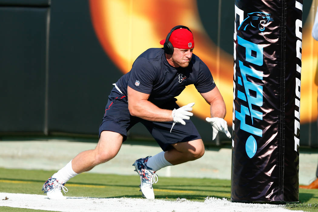 Aug 9, 2017; Charlotte, NC, USA; Houston Texans defensive end J.J. Watt (99) warms up  before a game against the Carolina Panthers at Bank of America Stadium. (Jeremy Brevard-USA TODAY Sports)