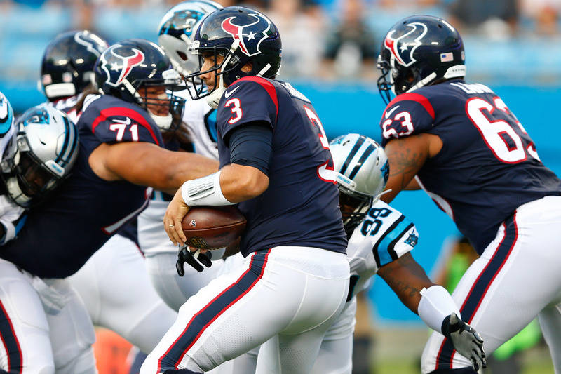 Aug 9, 2017; Charlotte, NC, USA; Carolina Panthers defensive tackle Kawann Short (99) defends Houston Texans quarterback Tom Savage (3) during the first quarter at Bank of America Stadium. (Jeremy ...