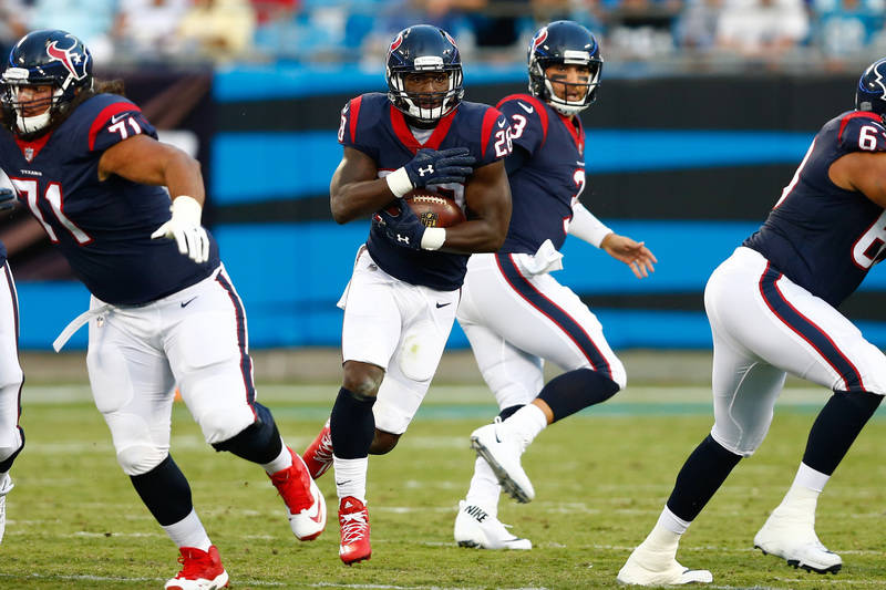 Aug 9, 2017; Charlotte, NC, USA; Houston Texans running back Alfred Blue (28) runs the ball during the first quarter against the Carolina Panthers at Bank of America Stadium. (Jeremy Brevard-USA T ...